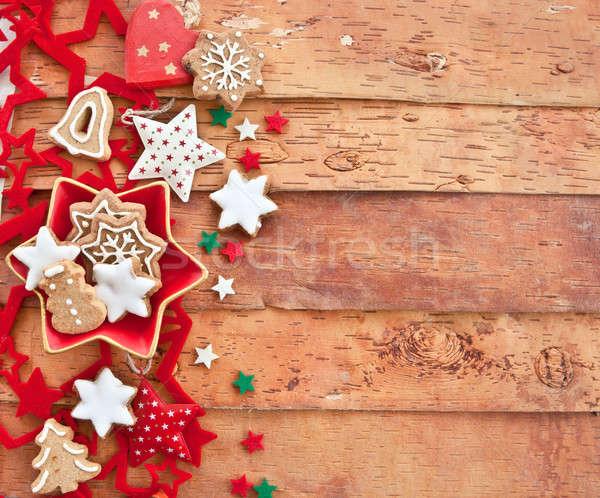 Christmas cookies on rustic background Stock photo © BarbaraNeveu