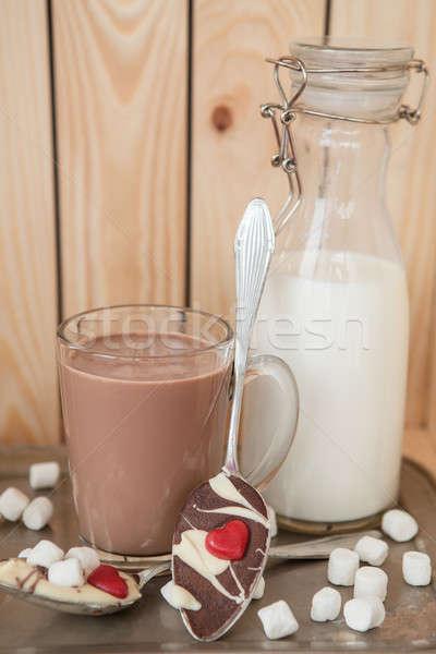 Warme chocolademelk vintage melk fles glas chocolade Stockfoto © BarbaraNeveu