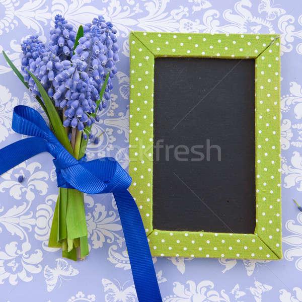 新鮮な 黒板 リボン 青 イースター 花 ストックフォト © BarbaraNeveu