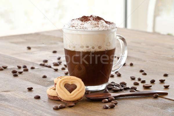 Foto d'archivio: Cup · caffè · latte · schiuma · caldo