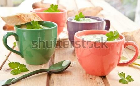 Stockfoto: Eigengemaakt · romig · broccoli · soep · vers · baguette