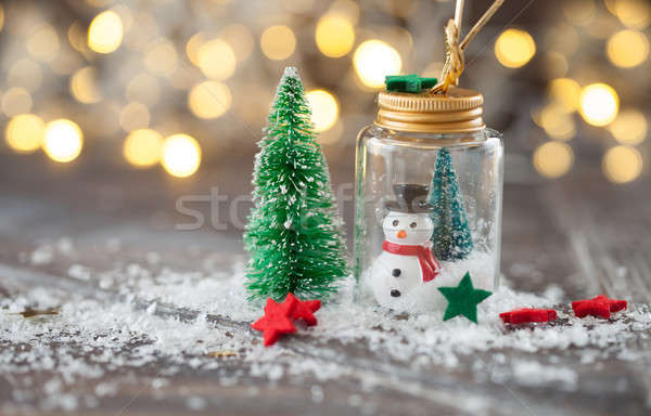Photo stock: Noël · décorations · neige · bokeh · lumières