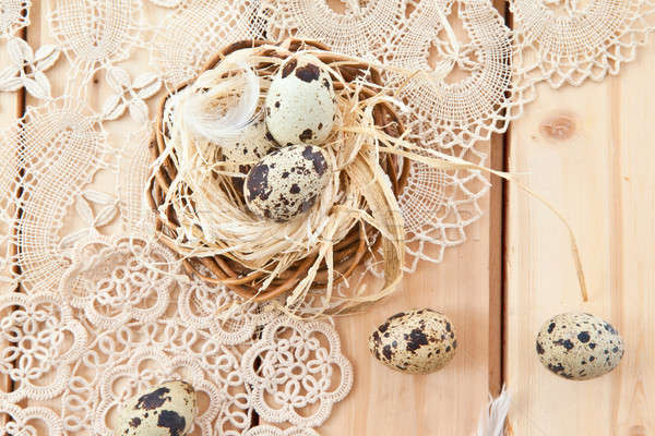 Easter nest with quail eggs Stock photo © BarbaraNeveu
