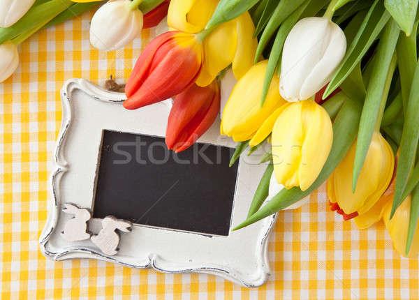 Fraîches tulipes vintage tableau coloré amour Photo stock © BarbaraNeveu