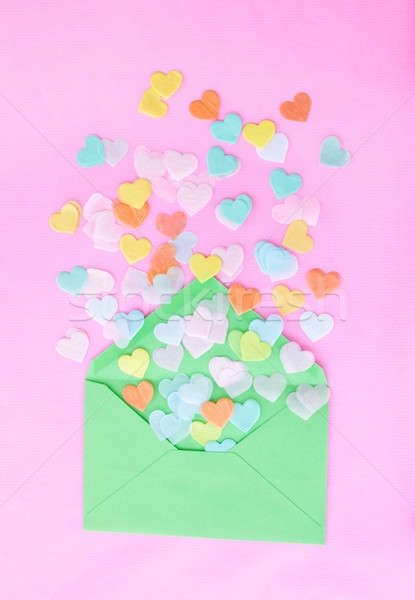 Cuore confetti rosa verde busta amore Foto d'archivio © BarbaraNeveu
