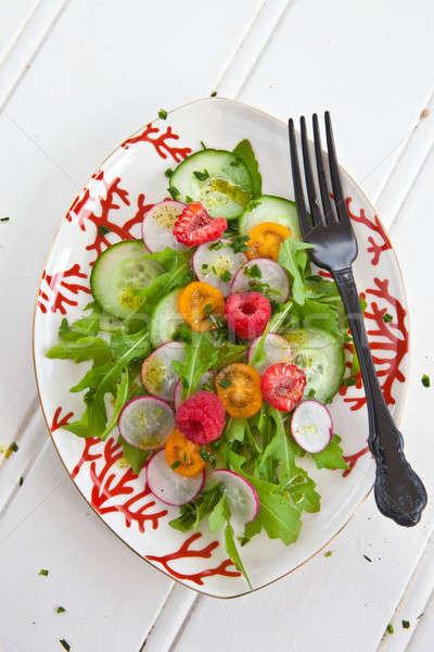 新鮮な サラダ トマト キュウリ チェリートマト ラズベリー ストックフォト © BarbaraNeveu