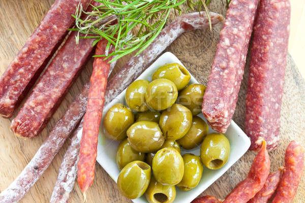 закуски салями оливками зеленый свежие Сток-фото © BarbaraNeveu
