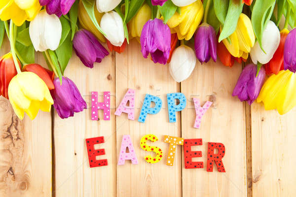 Happy Easter written in multicolored letters Stock photo © BarbaraNeveu
