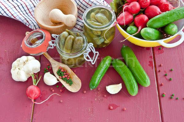 специи уксус Vintage продовольствие овощей перец Сток-фото © BarbaraNeveu