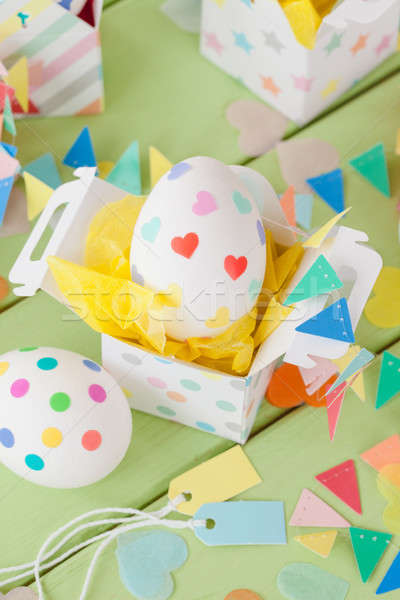 Easter eggs with colorful stickers Stock photo © BarbaraNeveu