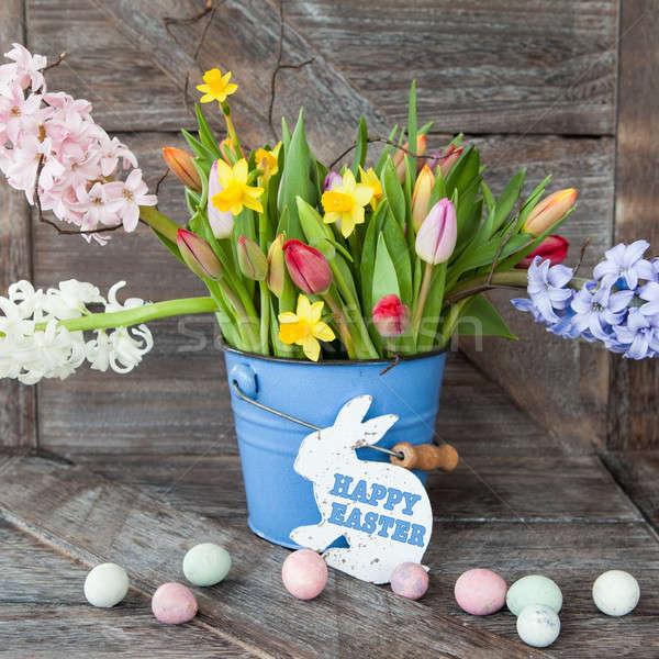 красочный весенние цветы Vintage синий ковша цветы Сток-фото © BarbaraNeveu
