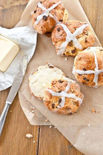 Hot cross buns with butter Stock photo © BarbaraNeveu