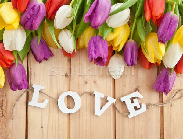 Fresh tulips on wooden background Stock photo © BarbaraNeveu
