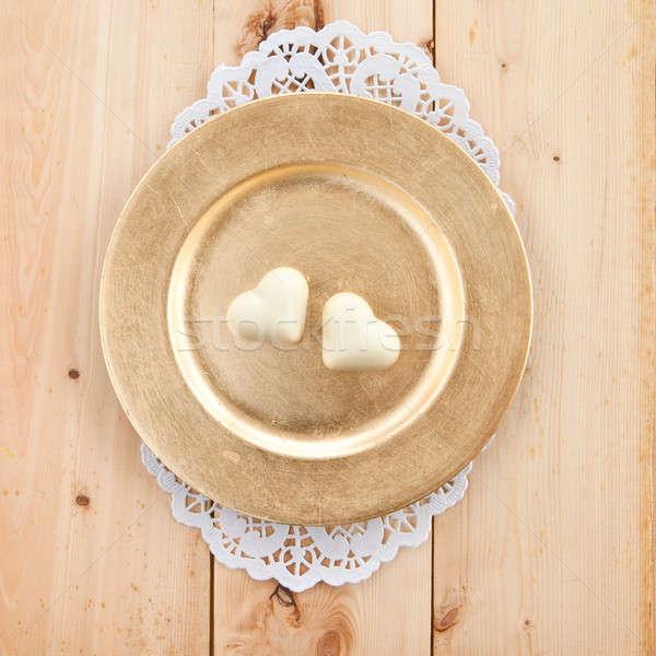 ストックフォト: チョコレート · 心 · 2 · 白 · プレート