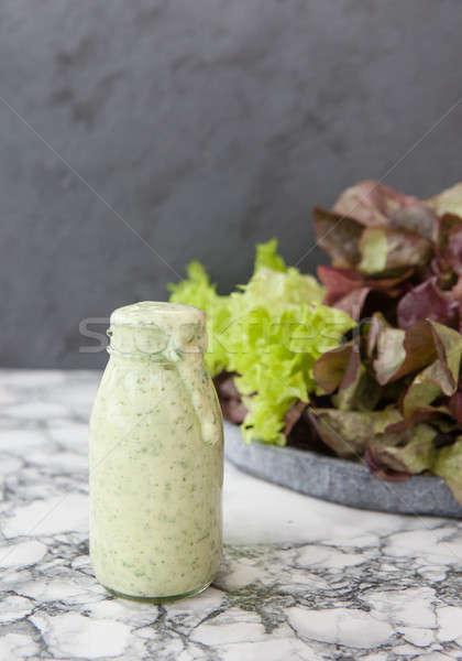 Yogurt aderezo frescos hierbas botella casero Foto stock © BarbaraNeveu