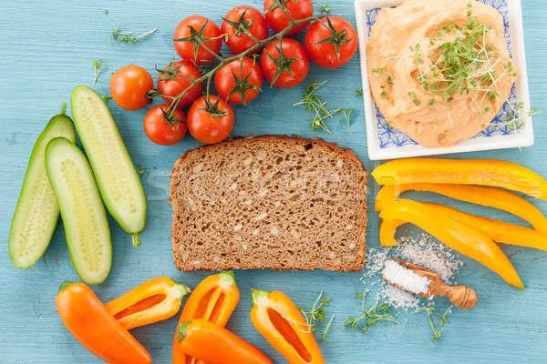 Inteiro grão pão fatia legumes pepino Foto stock © BarbaraNeveu