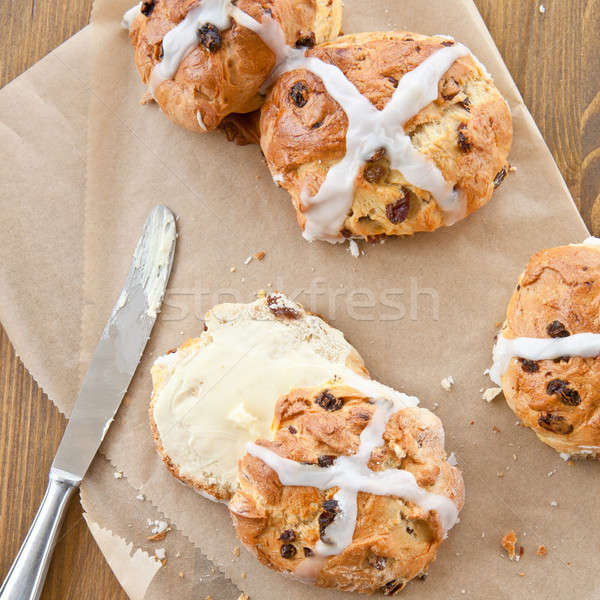 Chaud croix beurre fraîches Pâques déjeuner Photo stock © BarbaraNeveu