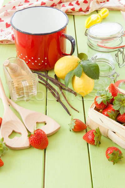 Főzés lekvár friss eprek vanília bab Stock fotó © BarbaraNeveu