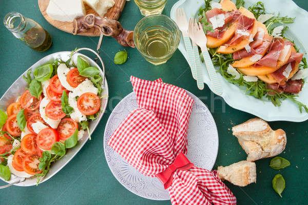 красочный салат Капрезе свежие помидоров моцарелла вино Сток-фото © BarbaraNeveu