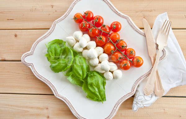Ингредиенты салат Капрезе свежие квадратный пластина зеленый Сток-фото © BarbaraNeveu