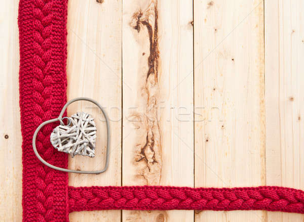 Rústico corazón madera rojo de punto cinta Foto stock © BarbaraNeveu