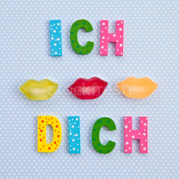 I Kiss you in German with lip shaped candy Stock photo © BarbaraNeveu
