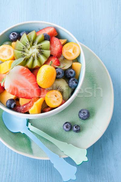 Cerâmico copo frutas frescas salada fresco frutas Foto stock © BarbaraNeveu