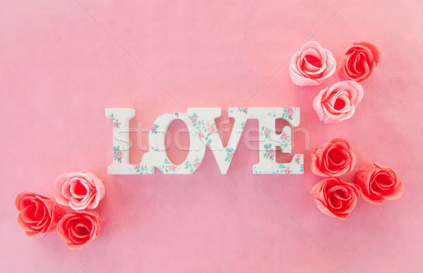 Love banner with roses Stock photo © BarbaraNeveu