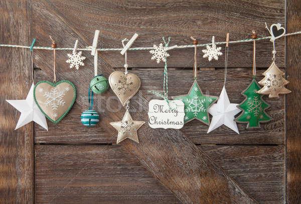 Stockfoto: Rustiek · christmas · houten · feestelijk · ornamenten · liefde