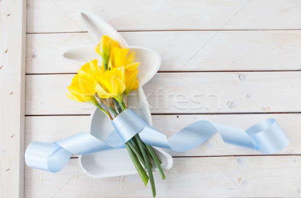 新鮮な 水仙 白 木製 楽しい ストックフォト © BarbaraNeveu