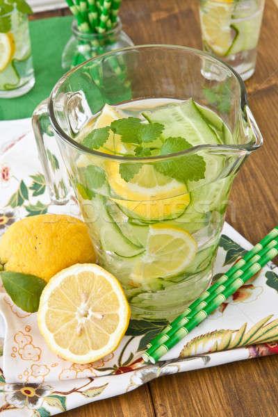 Limonade komkommer citroenen koud vers komkommers Stockfoto © BarbaraNeveu