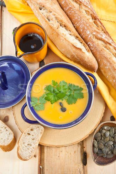 Stok fotoğraf: Ev · yapımı · kabak · çorba · tohumları · kabak · Çekirdeği · yağ
