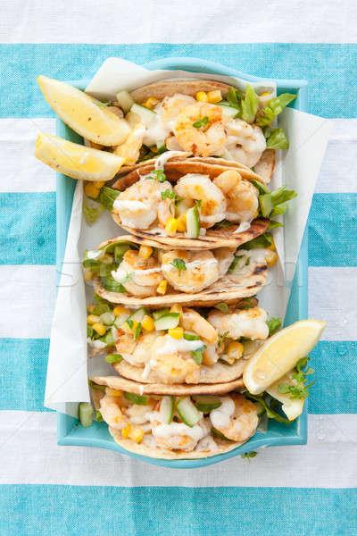 Camarão tacos fresco limão pepino milho Foto stock © BarbaraNeveu