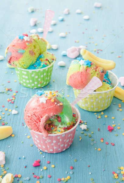 красочный мороженым вечеринка звезды цветами десерта Сток-фото © BarbaraNeveu