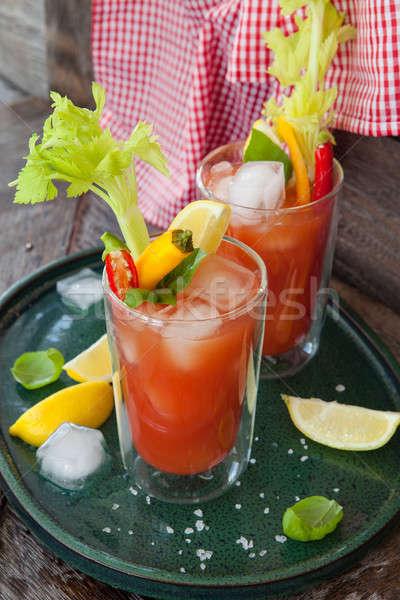 Stock fotó: Koktél · paradicsomlé · színes · zöldség · körítés · buli
