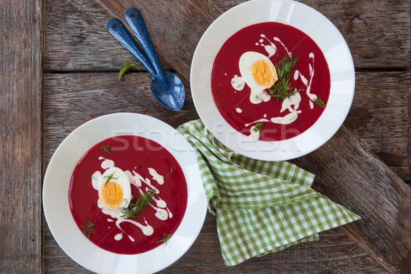 Homemade red beet soup Stock photo © BarbaraNeveu