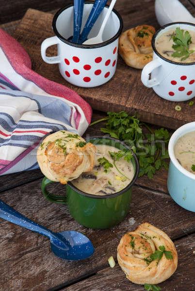 Foto stock: Cremoso · cogumelo · sopa · rústico · fresco · esmalte