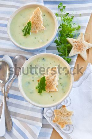 ストックフォト: 自家製 · クリーミー · ブロッコリー · スープ · 新鮮な