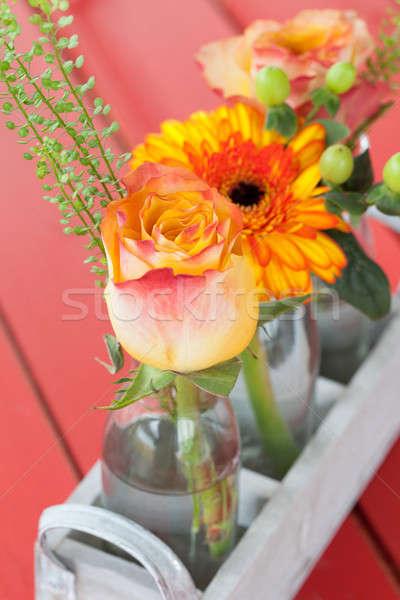 Fresh flowers in little bottles Stock photo © BarbaraNeveu