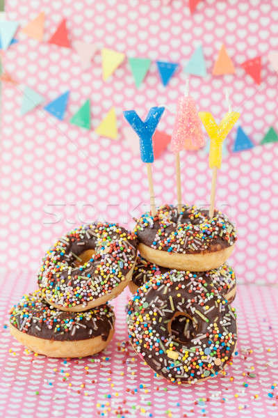 Colorful donuts with sprinkles Stock photo © BarbaraNeveu