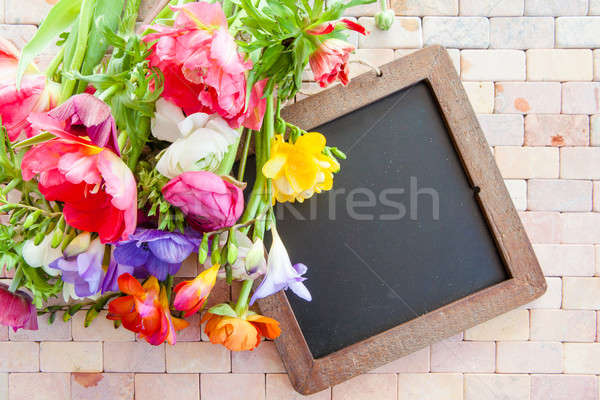 красочный весенние цветы деревенский каменные плитка цветы Сток-фото © BarbaraNeveu