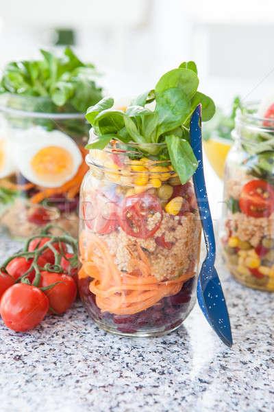 ストックフォト: レイヤード · サラダ · jarファイル · クスクス · ヴィンテージ · 野菜