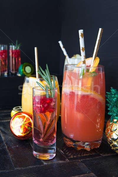 Variëteit fruit cocktails donkere oranje drinken Stockfoto © BarbaraNeveu