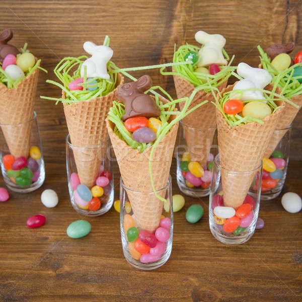 Peu Pâques nid gaufre bonbons printemps Photo stock © BarbaraNeveu