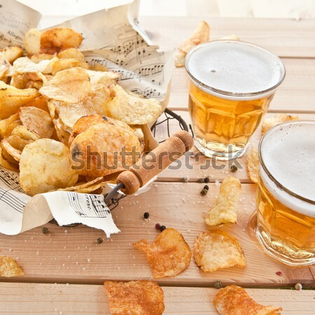Stock photo: Vintage mesh basket with chips
