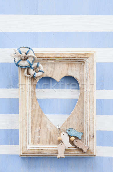 Rustic wooden frame on stripes Stock photo © BarbaraNeveu