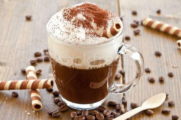 Copo café cremoso leite espuma quente Foto stock © BarbaraNeveu