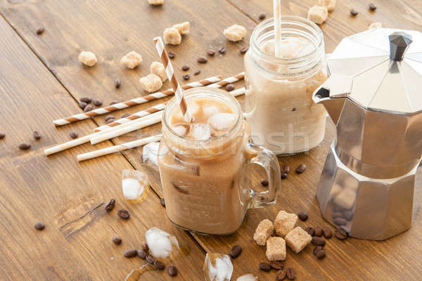 Iced coffee in vintage jar Stock photo © BarbaraNeveu