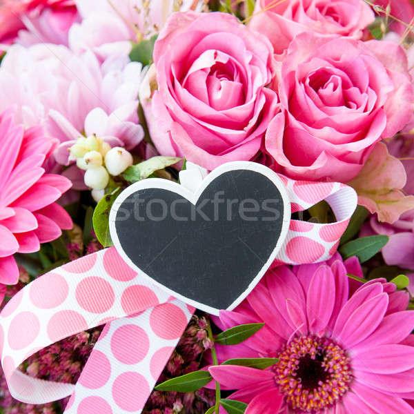 Kolorowy bukiet świeże różowy miłości wzrosła Zdjęcia stock © BarbaraNeveu