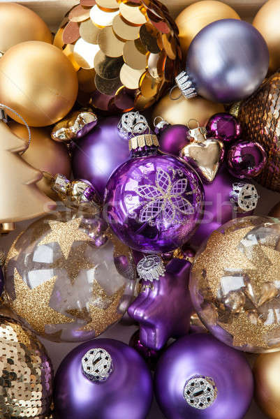 Variety of golden christmas ornaments Stock photo © BarbaraNeveu
